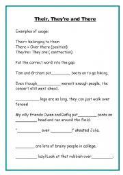 English Worksheets: Their, They�re and There