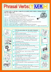 English Worksheet: Phrasal verbs (7/10): TURN
