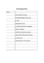English worksheet: Find Someone Who... using present tense