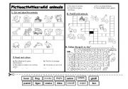 English Worksheet: Pictioactivities: wild animals
