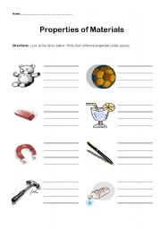 English Worksheets: Properties of materials