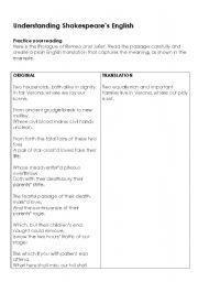 english worksheets understanding shakespeare s english. Black Bedroom Furniture Sets. Home Design Ideas