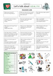English Worksheet: Let´s talk about HEALTH