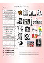 English Worksheet: Vocabulary Matching Worksheet & Quiz - AMERICAN ICONS & LANDMARKS
