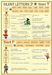 English Worksheet: SILENT LETTERS 2