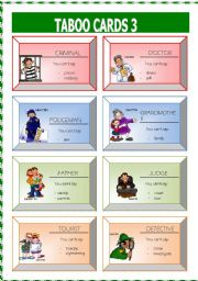 English Worksheets: Taboo cards 3