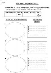 English worksheets: Design a balanced meal