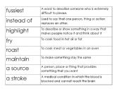 English Worksheet: Word/definition matching activity (prepared for CELTA skills lesson assignment)