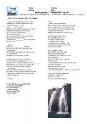 English Worksheets: Waterfalls by TLC