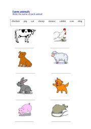 English Worksheets: Farm Animals 1 - writing the names of animals