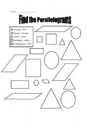 English worksheets: Parallelograms