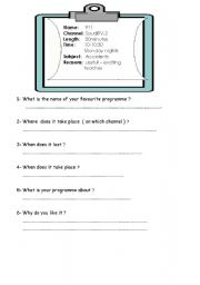 English Worksheets: favourite tv programme