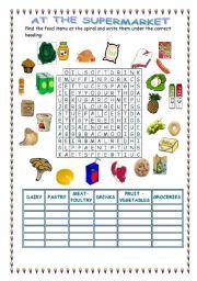 English Worksheet: At the supermarket food spiral