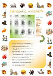 English Worksheet: Thanksgiving:  Word search & definition exercise including the major Thanksgiving vocabulary