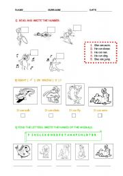 English Worksheets: revision_animals_body_actions