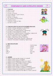 English Worksheet: Comparative and Superlative Degree (2 pages)