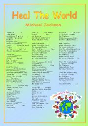 Heal The World - fill in worksheet
