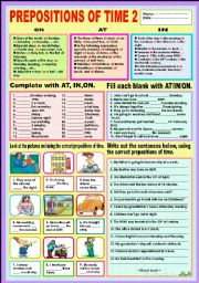 English Worksheet: Prepositions of time 2