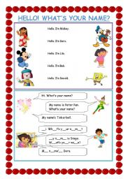 English Worksheets: GREETINGS: HELLO, WHAT´S YOUR NAME?
