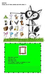 English Worksheets: ANIMAL WRITING