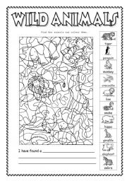 English Worksheet: Wild  animals - Find the animals and colour them