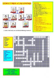 English Worksheet: FAMILY MEMBERS & CROSSWORD