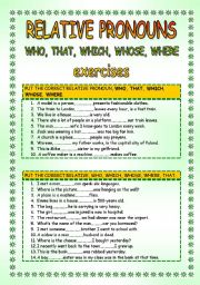 English Worksheets: Relative pronouns WHO WHAT WHERE WHICH WHOSE 2 pages