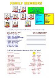 English Worksheet: FAMILY MEMBERS & EXERCISES