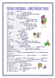 English Worksheet: PRESENT CONTINOUS- SIMPLE PRESENT TENSE