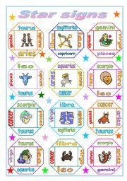 English Worksheet: Horoscope