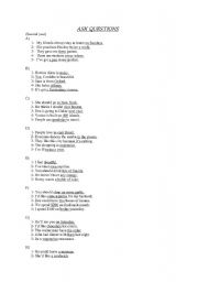 English Worksheets: Ask questions exercise!!!
