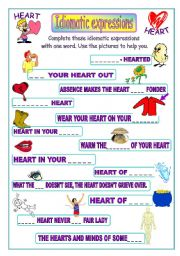 English Worksheet: Idiomatic expressions - HEART -