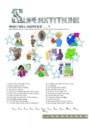 English Worksheet: SUPERSTITIONS - If-clauses Type 1