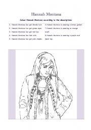 English Worksheets: Colour Hannah Montana