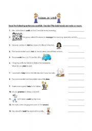 English Worksheets: Noun or Verb