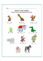 English Worksheets: WILD ANIMALS - missing letters