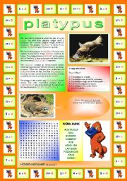 English Worksheets: The Platypus (Multi-task worksheet): Encrypted reading + Comprehension exercise + Vocabulary exercise + Wordsearch (including a hidden message!)