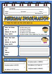 English Worksheet: PERSONAL INFORMATION