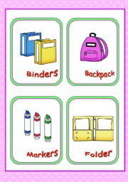English Worksheet: Classroom objects and symbols Set  (7)  -- Basic school supplies vocabulary