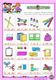 English Worksheet: Classroom objects and symbols Set  (8)   - Basic school Supplies Vocabulary