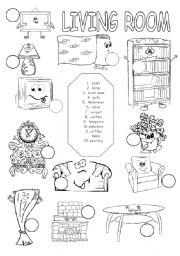 ESL worksheets for beginners: Living room