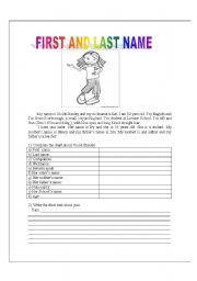 English worksheet: Firsl and last name.