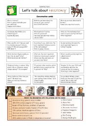 English Worksheet: Let�s talk about HISTORY