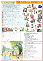 English Worksheet: Present simple and continuous (2)