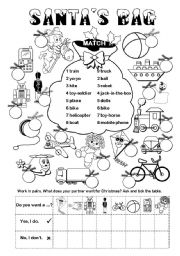 English Worksheets: Santa�s Bag