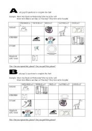 English Worksheets: ask pupil A/B questions to complete the chart