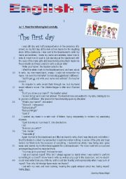 English Worksheet: Test - The first day (at school)