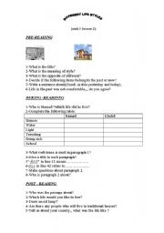 English Worksheets: different life styles