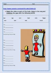 English Worksheets: Keep Moving - Body Vocabulary Fill Out
