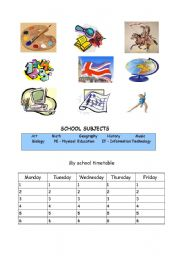 English worksheet: school subjects